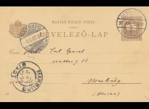 Ungarn: 1897: Ganzsache Debrezen nach Marburg