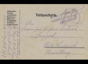 Ungarn: 1917: Feldpostkarte, Zensur nach Vorarlberg