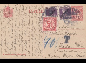 Ungarn: 1920: Ganzsache nach Wien, Taxe