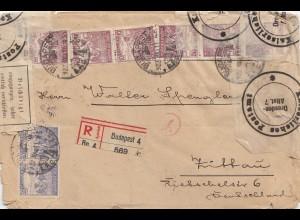 Ungarn: 1922: Einschreiben Budapest nach Zittau, Beschädigt eingegangen
