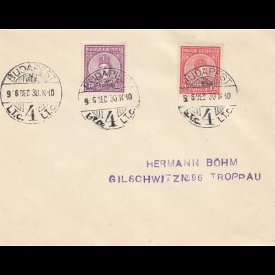 Ungarn: 1930: Brief von Budapest nach Troppau, FDC