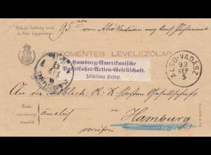 Ungarn: 1893: Hamburg-Amerikanische Packetfahrt AG Also-Vadasz nach Hamburg