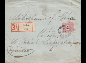 Ungarn: 1898: Einschreiben Perlak nach Wien