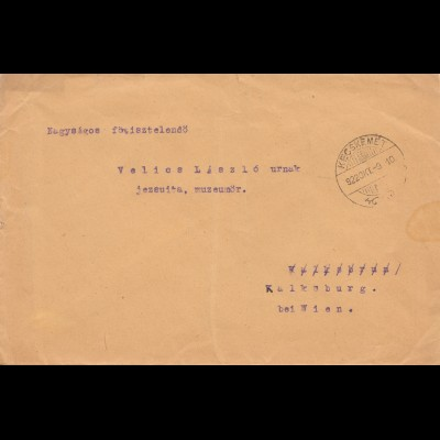 Ungarn: 1922: Kecskemet nach Kalkaburg