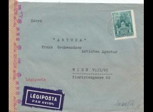 Ungarn: 1941: Lufpost Pekir nach Wien, OKW Zensur