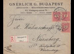 Ungarn: 1909: Einschreiben Budapest nach Nürnberg