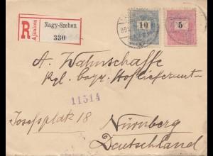 Ungarn: 1917: Einschreiben Nagy-Szeben nach Nürnberg