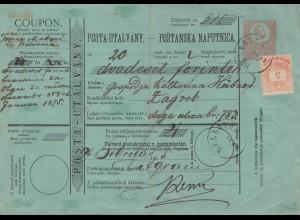 Ungarn: 187x Posta Utalvany, Ganzsache nach Zagreb