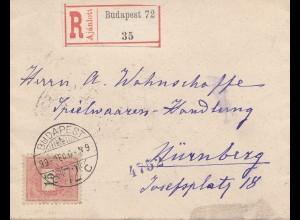 1899: Einschreiben Budapest nach Nürnberg