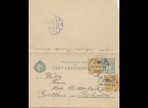 Ungarn: 1906: Ganzsache Temesvor nach Böhmen Grottau
