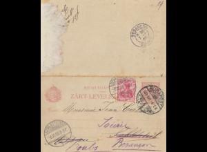 Ungarn: 1905: Ganzsache Budapest nach Schlettstadt