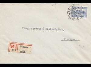Ungarn: 1928: Einschreiben Budapest nach Kisunyom