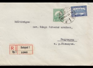 Ungarn: 1927: Einschreiben Budapest nach Nagyunyom