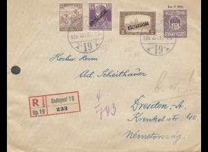 Ungarn: 1920: Einschreiben Budapest nach Dresden