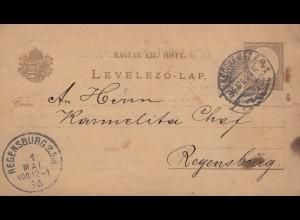 Ungarn: 1898: Ganzsache nach Regensburg