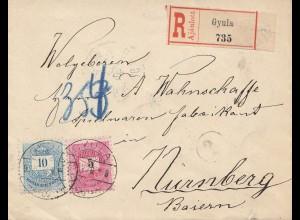 Ungarn: 1897: Einschreiben Gyula nach Nürnberg