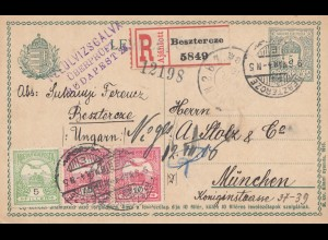 Ungarn: 1916: Ganszache Einschreiben Besztercze nach München