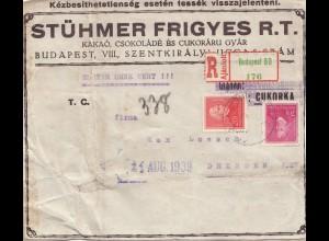 Ungarn: 1939: Einschreiben Budapest nach Dresden