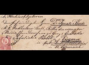 Ungarn: 1872: Brief nach Heidenreichstein/Österreich