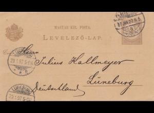 Ungarn: 1897: Ganzsache nach Lüneburg