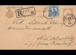 Ungarn: 1886: Ganzsache Einschreiben Kisnnyom