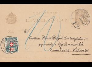 Ungarn: 1912: Ganzsache in die Schweiz