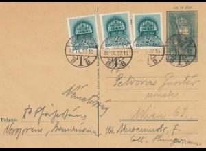 Ungarn: 1939: Ganzsache nach Wien