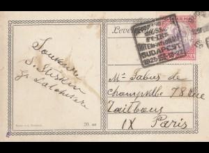 Ungarn: 1925: Postkarte von Budapest nach Paris