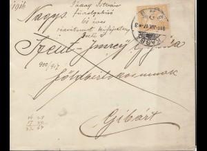 Ungarn: 1916: Kassa nach Gibart, Trauerbrief
