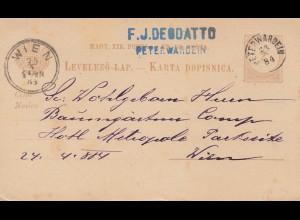 Ungarn: 1884: Ganzsache Peterwardein nach Wien