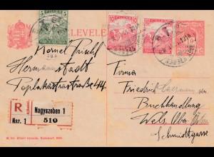 Ungarn: 1918: Ganzsache Einschreiben Nagyszeben nach Wels