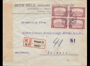 Ungarn: 1921: Einschreiben Budapest nach Leipzig, Zensur