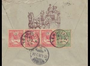 Ungarn: 1901: Einschreiben Tengelicz, Abbildung Postkutsche