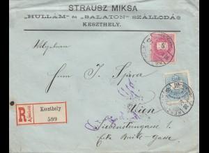 Ungarn: 1898: Einschreiben Keszthely nach Wien
