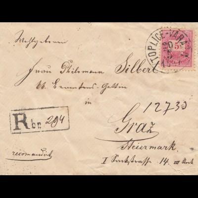 Ungarn: 1887: Einschreiben Toplice nach Graz