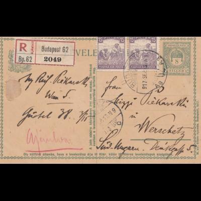 Ungarn: 1917: Ganzsache Einschreiben Budapest nach Werschatz