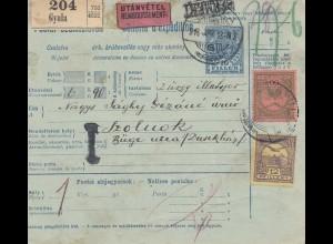 Ungarn: 1916: Paketkarte Gyula als Nachnahme nach Szolnok