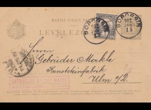 Ungarn: 1902: Ganzsache Sobobsin nach Ulm