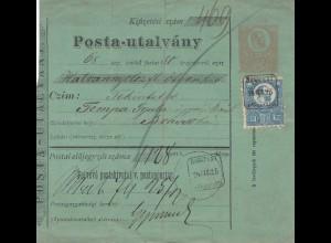 Ungarn: 1874: Paketkarte nach Brasso