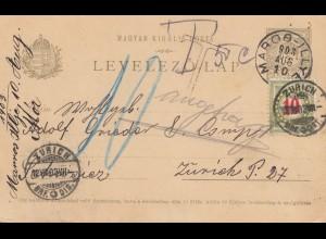 Ungarn: 1903: Ganzsacahe Maros-Illye nach Zürich