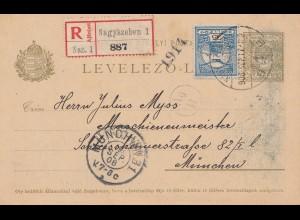 Ungarn: 1908: Ganzsache Einschreiben Nagyszeben nach München