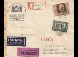 Ungarn: 1942: Einschreiben Luftpost Eilbote Budapest nach Wien, OKW Zensur