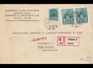 Ungarn: 1940: Einschreiben Budapest nach Wien, Zensur