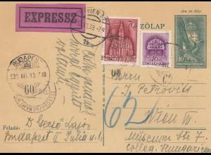 Ungarn: 1933: Ganzsache Express nach Wien von Budapest