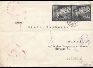 Ungarn: 1941: Brief nach Wien, MeF, Zensur