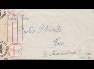 Ungarn: 1940: Brief nach Wien, doppelte Zensur