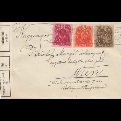 Ungarn: 1938: Brief nach Wien, zollamtlich geöffnet