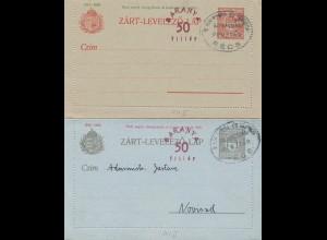 Ungarn: 2x Kartenbrief Ganzsache