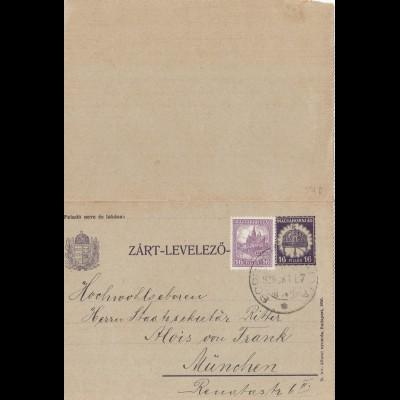 Ungarn: 1929: Ganzsache nach München