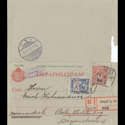 Ungarn: 1915: Ganzsache Einschreiben Budapest nach Berlin
